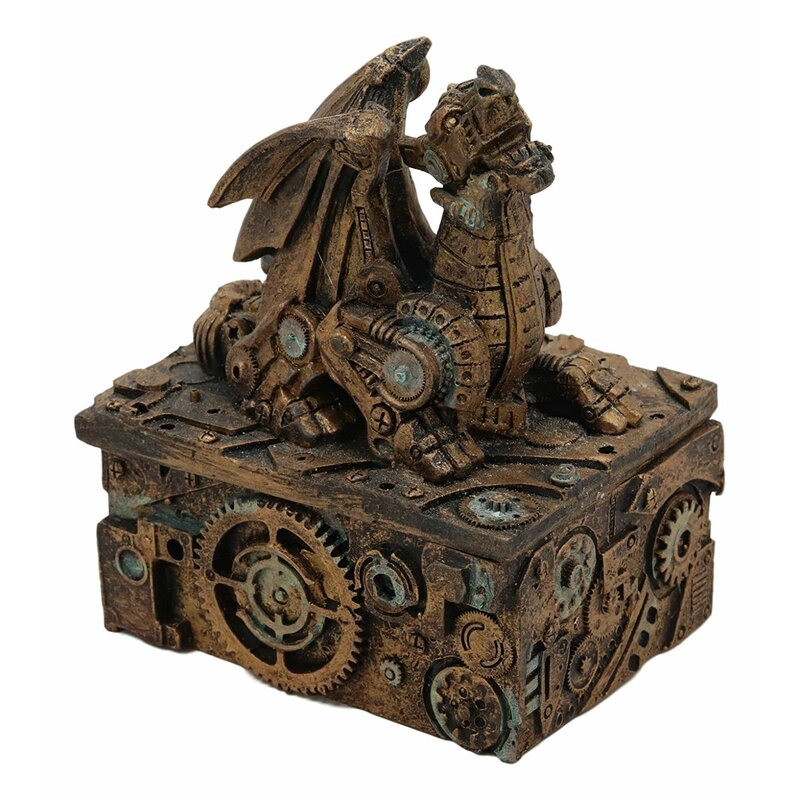 Ebros Steampunk Roaring Dragon Faux Bronze Trinket Jewellery Box Vintage Style Cyborg Robotic Dragons Gearwork Clockwork Sculpted Decorative Boxes
