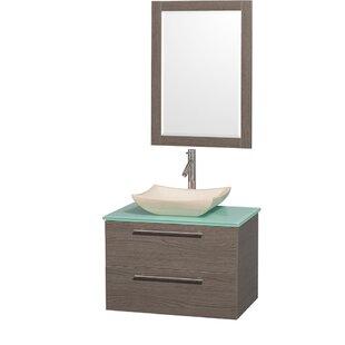 Amare 30 Single Gray Oak Bathroom Vanity Set with Mirror by Wyndham Collection