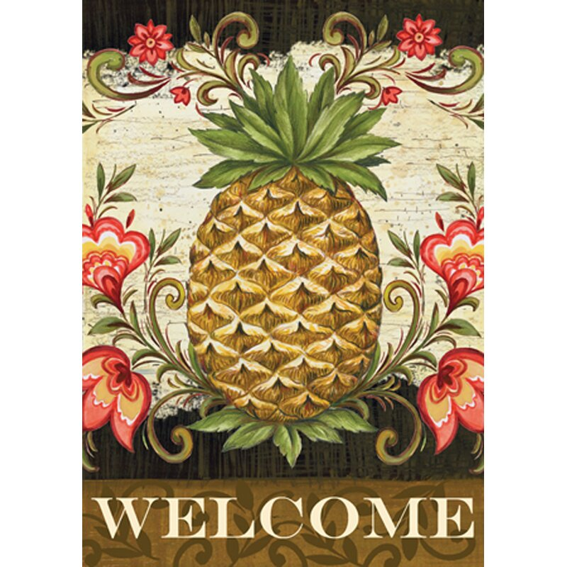 Pineapple Wall decor - Pineapple and Scrolls 2-Sided Garden Flag