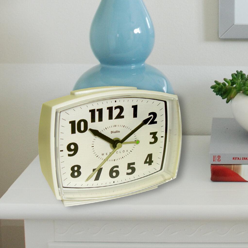 White Plastic Analog Dialite 22192A Alarm Clock