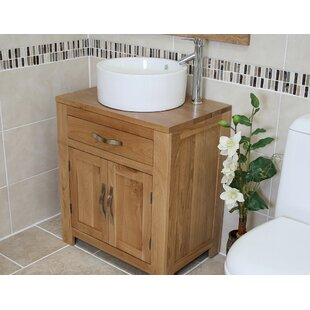 Desirae Solid Oak 700mm Free-standing Vanity Unit By August Grove