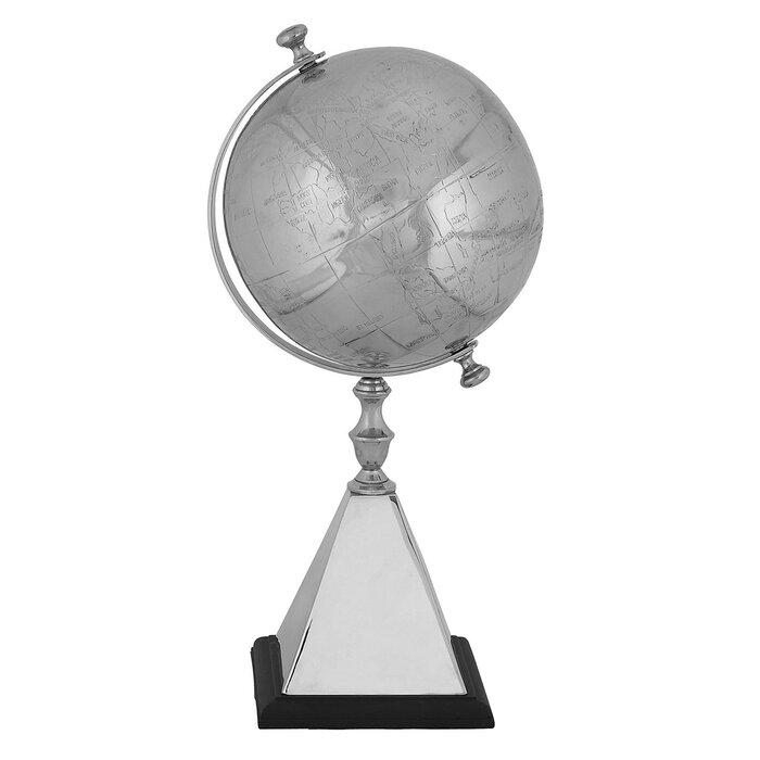 Mallus Classic Decorative Silver World Tabletop Globe