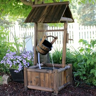 Vera Wood Rustic Wishing Well Outdoor Fountain