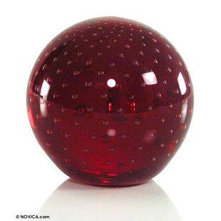 Novica Vermilion Sphere Art Glass Paperweight