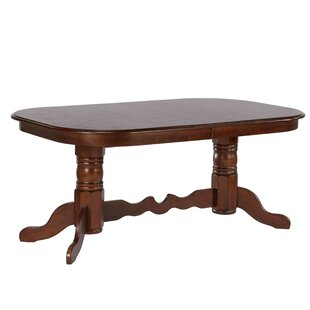 Hansen Double Pedestal Extendable Solid Wood Dining Table