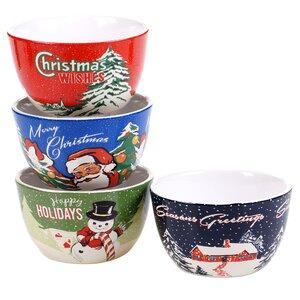 Retro Christmas 4 Piece Ice Cream Bowl Set