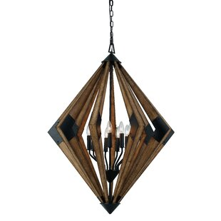 Union Rustic Shaw Wood 9-Light Geometric Chandelier