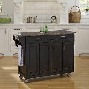 Regiene Kitchen Cart with Quartz Top by August Grove