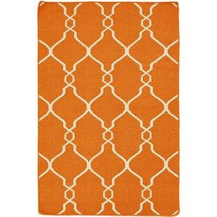 Handmade Kilim Wool Orange Rug by Bakero