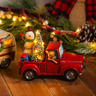 snowman in a truck led dcor - Red Truck Christmas Decor