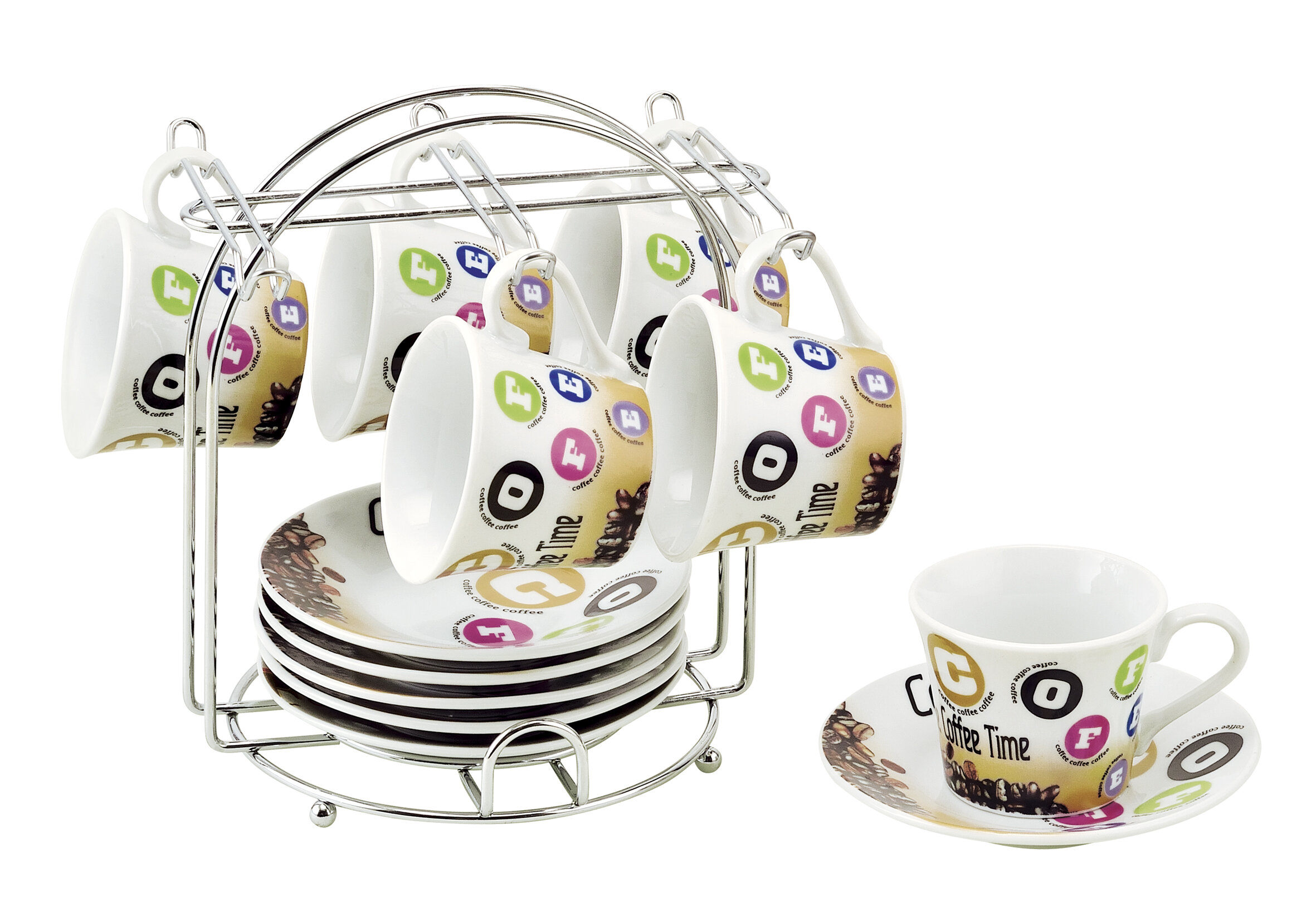 Lorren Home Trends Espresso Cup And Saucer Set With Metal Stand Wayfair