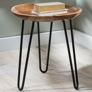 Mina Teak Wood and Metal End Table