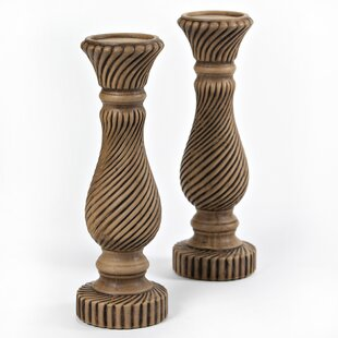 Spiral Look Tall Manufactured Wood Candlestick (Set of 2)