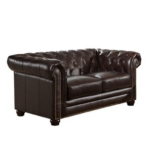 Brittany Top Grain Leather Chesterfield Loveseat
