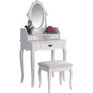 Frederica Makeup Vanity Set with MirrorBedroom   Makeup Vanities   Joss   Main. Mirrored Makeup Vanity Set. Home Design Ideas