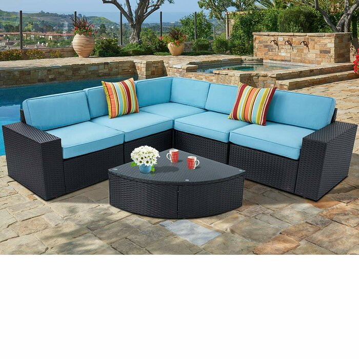 Rone Outdoor 6-Piece Black Wicker Sectional Sofa Wedge Table Set