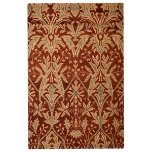 Rugsotic Hand-Knotted Red/Gold Area Rug