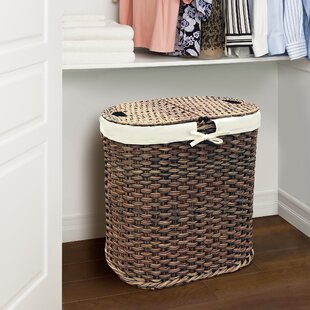 Gracie Oaks Wicker Oval Double Laundry Hamper