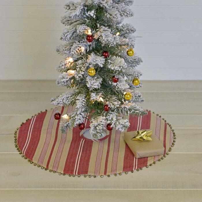 """20/"""" Mini Christmas Tree Skirt Natural Color Grainsack Fabric Red Pom Pom Trim"""