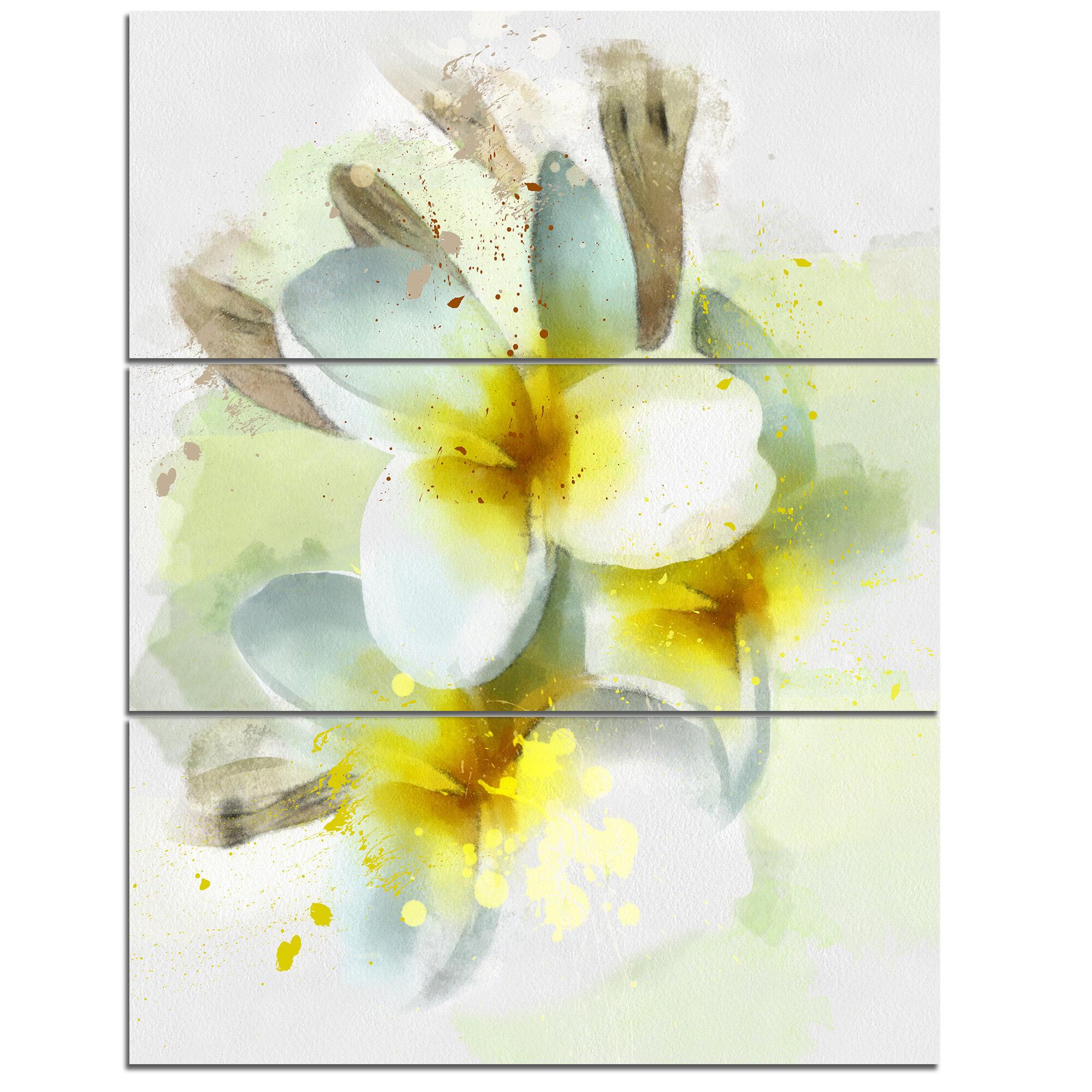 DesignArt \'Frangipani Flowers Watercolor\' 3 Piece Wall Art on ...