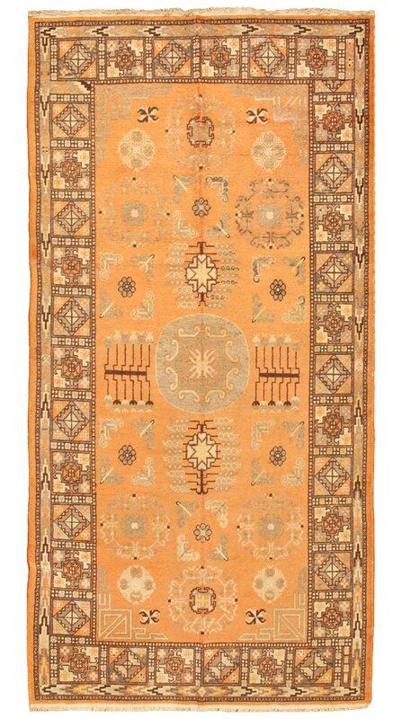 Pasargad One Of A Kind Khotan Hand Knotted Orange Brown 4 7 X 9 3 Wool Area Rug Wayfair