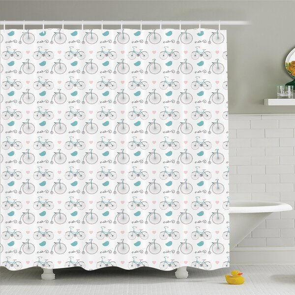 Ambesonne Vintage Bikes Hipster Retro Shower Curtain Set