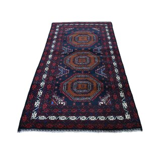 Reviews One-of-a-Kind Banda Baluch Hand-Knotted 3'4 x 6'6 Wool Black/Purple/Orange Area Rug By Isabelline