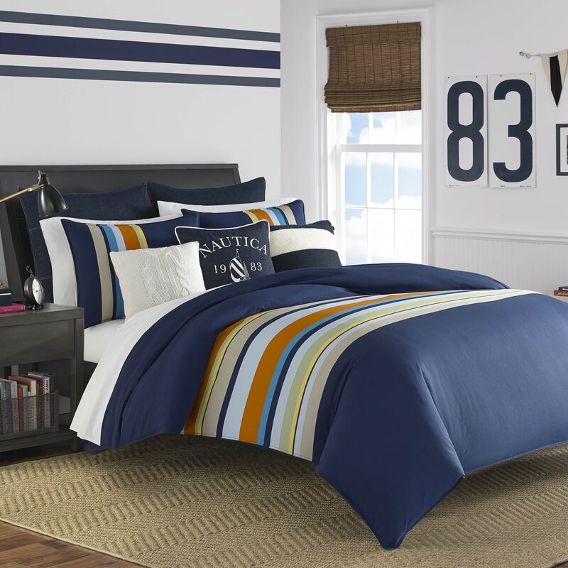 Heritage Sailing Stripe Cotton Reversible Comforter Set