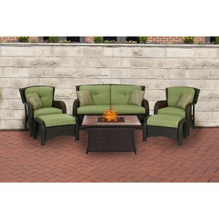 Stratton 6-Piece Outdoor Patio Conversation Fire Pit Coffee Table Set with Loveseat Arm Chairs Ottomans Accent Pillows and Liquid Propane Fire Pit by Canora Grey