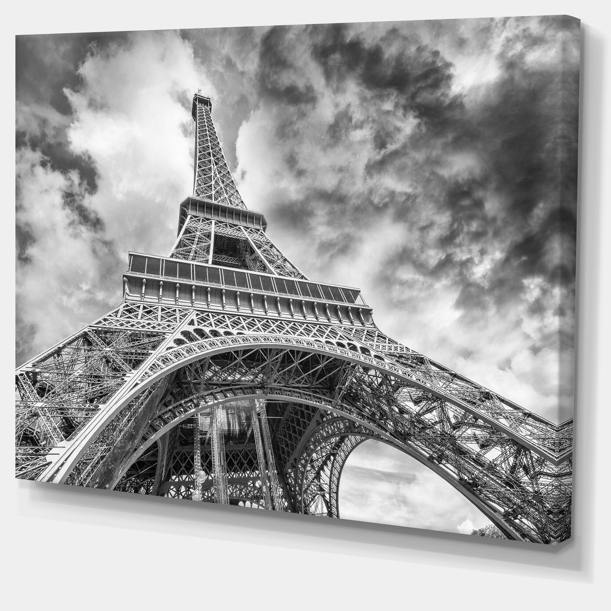 Designart Black And White View Of Paris Eiffel Tower Cityscape Photographic Print On Wrapped Canvas Reviews Wayfair