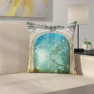 Forest Fairytale Door Stars Square Pillow Cover by East Urban Home