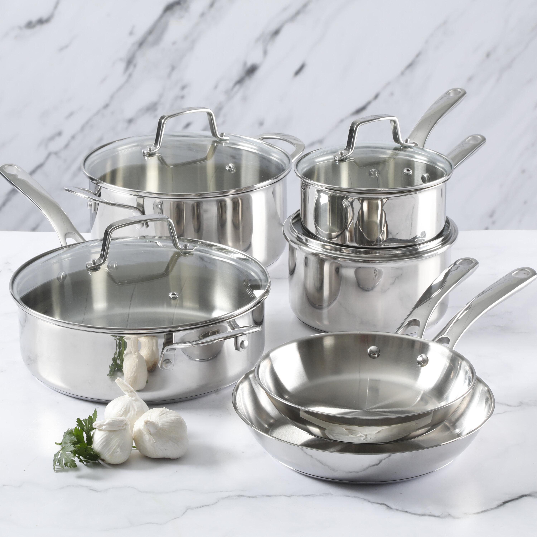Martha Stewart 10 Pieces Stainless Steel Cookware Set Reviews Wayfair