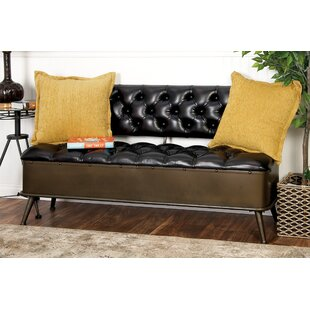 Read Reviews Metal and Faux Leather Storage Bench By Cole & Grey