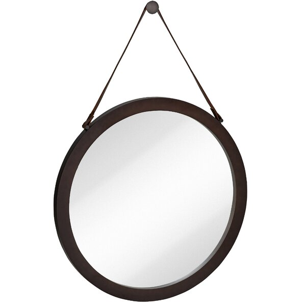 Round Mirror Leather Strap | Wayfair