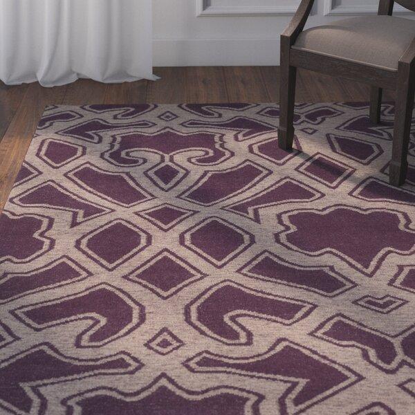 Darby Home Co Lagrange Geometric Handwoven Wool Gray Purple Area Rug Wayfair
