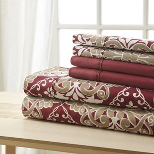 Weyerbacher Burgundy Damask Sheet Set
