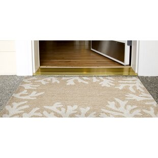 Claycomb Coral Border Hand-Tufted Neutral Indoor/Outdoor Area Rug