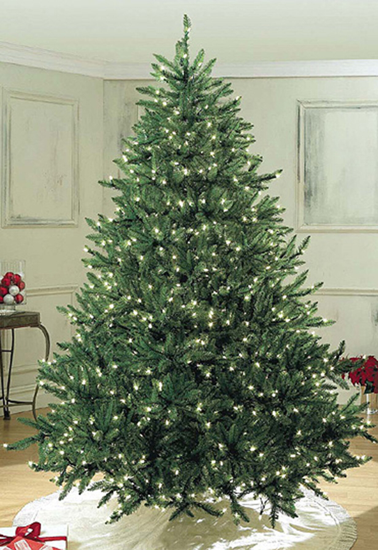 Queens Of Christmas Sequoia Pre Lit Led 7 5 Green Artificial Christmas Tree With 2000 Clear White Lights Wayfair
