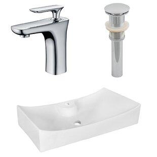 Reviews Ceramic Rectangular Vessel Bathroom Sink with Faucet ByAmerican Imaginations