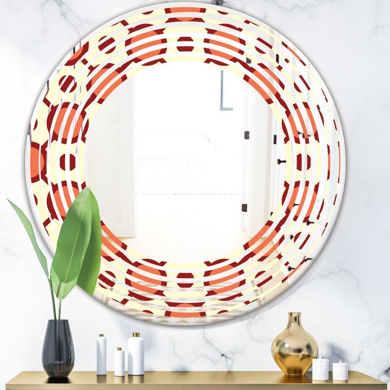 East Urban Home Abstract Geometrical Design Ix Wave Modern Frameless Wall Mirror Wayfair