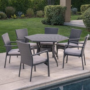Orren Ellis Emrich 7 Piece Dining Set with Cushions