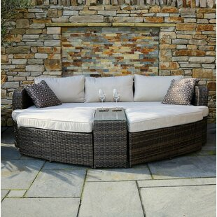 Brayden Studio Venters Chaise Lounge Set with Cushions and Table