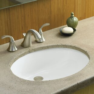 Read Reviews Caxton Ceramic Oval Undermount Bathroom Sink with Overflow and Glazed Underside By Kohler