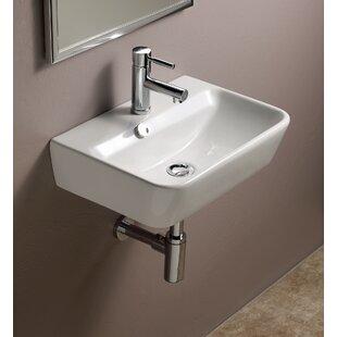 Emma Ceramic 20 Wall Mount Bathroom Sink with Overflow Bissonnet