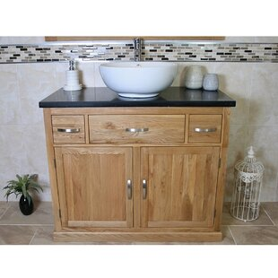 Kennedi Solid Oak 1000mm Free-standing Vanity Unit By August Grove
