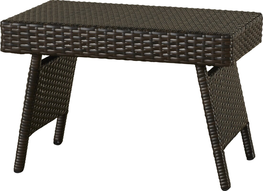 Varick Gallery Ellington Circle Outdoor Foldable Wicker Side Table
