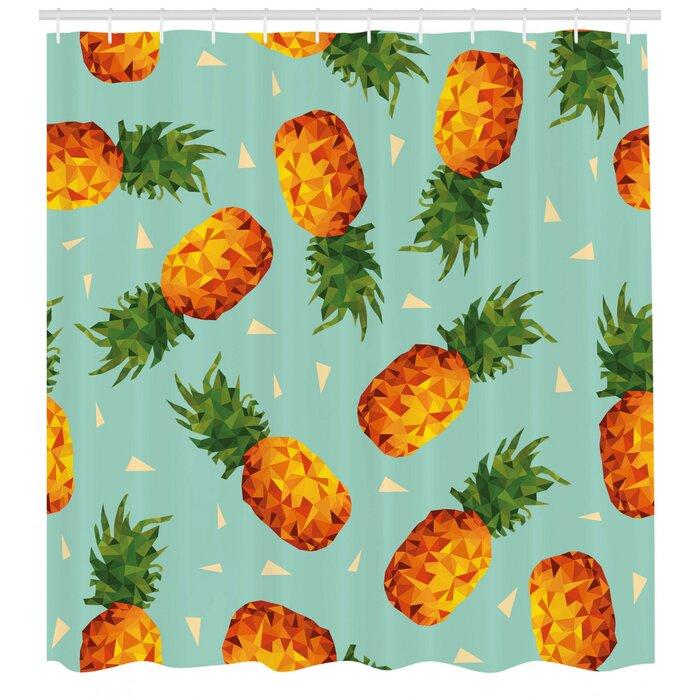 Samuel Retro Poly Style Pineapples Motif Vintage Beach Summer Modern Illustration Single Shower Curtain