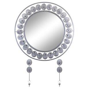 Latitude Run Elegant Bejeweled Round Accent Wall Mirror