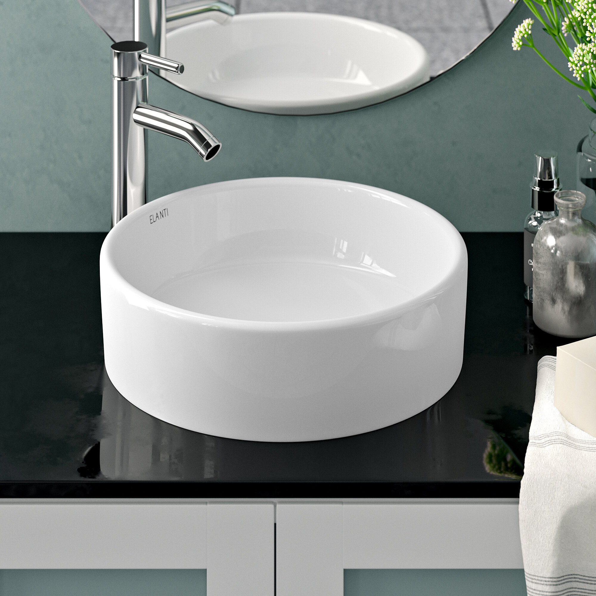 Elanti Ceramic Circular Vessel Bathroom Sink Reviews Wayfair