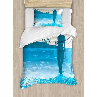 East Urban Home Beach Summer Vibes Near the Sea Shore Ocean Palms Waves Sunny Art Print Duvet Set